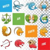 Le zodiaque coloré signe des croquis d'isolement sur un fond blanc illustration de vecteur
