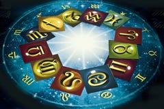 Le zodiaque coloré signe plus de l'horoscope bleu comme le concept d'astrologie photographie stock libre de droits