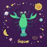 Le zodiaque de Cancer se connectent le fond de ciel nocturne avec des étoiles Photographie stock