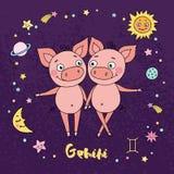 Le zodiaque de Gémeaux se connectent le fond de ciel nocturne avec des étoiles Photo stock