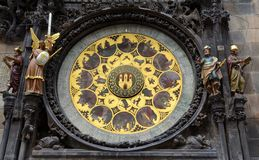 Le zodiaque 12 de l'horloge astronomique Photographie stock libre de droits