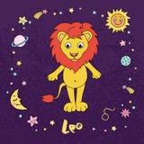 Le zodiaque de Lion se connectent le fond de ciel nocturne avec des étoiles Image libre de droits