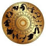 Le zodiaque se connecte un disque d'or Photos libres de droits