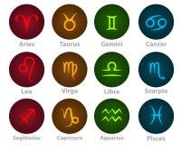 Le zodiaque signe l'icône au néon de boule de cercle Images stock