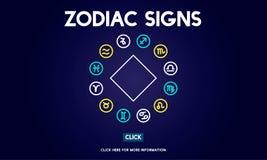 Le zodiaque signe le concept astrologique d'horoscope de prévision illustration libre de droits