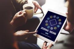 Le zodiaque signe le concept astrologique d'horoscope de prévision photos stock