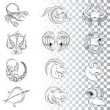 Le zodiaque tiré par la main signe des croquis d'isolement sur un fond blanc illustration stock