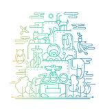 Le zoo - ligne illustration de conception Images libres de droits