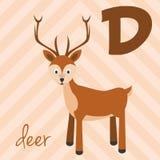 Le zoo mignon de bande dessinée a illustré l'alphabet avec les animaux drôles : D pour des cerfs communs Image stock