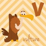 Le zoo mignon de bande dessinée a illustré l'alphabet avec les animaux drôles : V pour le vautour Images stock