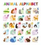 Le zoo mignon de bande dessinée a illustré l'alphabet avec les animaux drôles Alphabet anglais Image libre de droits