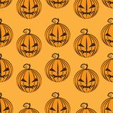 Le zucche modellano senza cuciture sul vettore felice arancio del fondo di festival della celebrazione del partito di Halloween Fotografia Stock Libera da Diritti