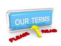 Lea por favor nuestro botón de los términos Foto de archivo