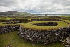 Leacanabuaile cirkelfort, Kerry, Irland Arkivfoton