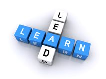 Lead And Learn Word Cubes Royalty Free Stock Photography