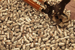 Lead bullets and mold for reloading ammunition Stock Photography