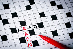 Lead earn. On puzzle words Royalty Free Stock Photo