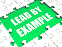 Lead by Example Puzzle Shows Leading Leadership Royalty Free Stock Images