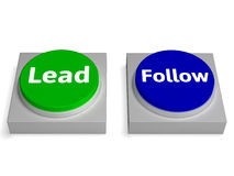 Lead Follow Buttons Shows Leading Or Following Stock Image