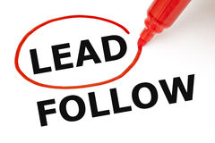 Lead or Follow Red Marker. Choosing Lead instead of Follow. Lead selected with red marker royalty free stock photography
