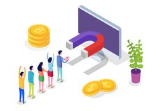 Free Lead Generate, Inbound Marketing Magnet Isometric Concept. Royalty Free Stock Photos - 136710678
