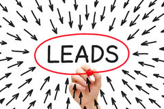Lead Generation Arrows Concept. Hand drawing Lead Generation arrows concept with marker on transparent wipe board Stock Image