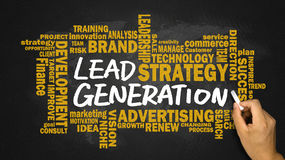 Lead generation handwritten on blackboard with related words clo Stock Photo