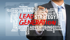 Lead generation handwritten by businessman with related words cl stock photo
