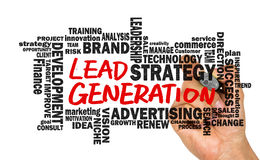 Lead generation handwritten on whiteboard with related words clo Stock Image