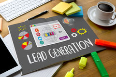 LEAD GENERATION  Lead Generation Business Funnel , Sales funnel,. Marketing process Lead generation, lead generation internet marketing for online market , Lead Royalty Free Stock Photo