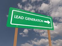 Lead generation sign. Green business lead generation sign with arrow, blue sky and cloudscape background Stock Photo