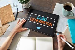 Lead generation start button on screen. Digital marketing and business strategy concept. Lead generation start button on screen. Digital marketing and business royalty free stock image