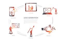 Lead Generation, strategy, infuence, potencial, traffic, consumer. Vector set vector illustration