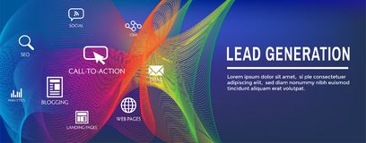 Lead Generation Web Header Banner - Attract leads for target audience to increase revenue growth & sales. Lead Generation Web Header Banner : Attract leads for stock illustration