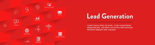 Lead Generation Web Header Banner - Attract leads for target audience to increase revenue growth & sales. Lead Generation Web Header Banner : Attract leads for royalty free illustration