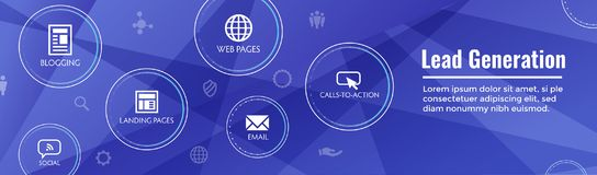 Lead Generation Web Header Banner - Attract leads for target aud. Ience to increase revenue growth & sales Royalty Free Stock Images