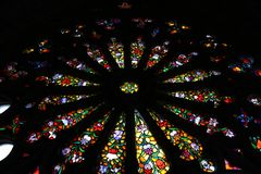 Lead in glass of the basilica the national vow in quito stock image