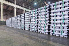 Lead ingots in a factory warehouse Royalty Free Stock Images