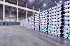 Lead ingots in a factory warehouse Royalty Free Stock Photos