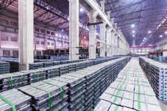 Lead ingots in a factory warehouse Stock Photography