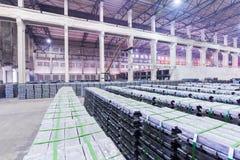 Lead ingots in warehouse Stock Image