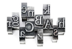 Lead letters. The old printed matter was essential accessory of the wood, then metal (lead) made from letters, the use of which has replaced More than half a Stock Photo