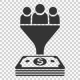 Lead management icon in flat style. Funnel with people, money vector illustration on isolated background. Target client business. Concept stock illustration