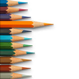 Lead orange and cool tone color pencil Stock Image