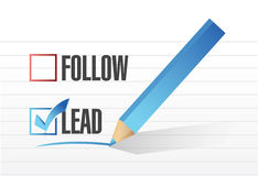 Lead over follow. check mark selection. Royalty Free Stock Images