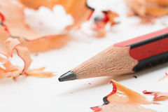 Lead pencil and shavings Royalty Free Stock Image