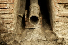 Lead pipe. Ancient Roman lead pipe in Belgrade, Serbia Royalty Free Stock Photos