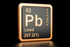 Lead plumbum Pb chemical element. 3D rendering. Lead plumbum Pb, chemical element. 3D rendering isolated on black background Stock Photography