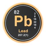 Lead plumbum Pb chemical element. 3D rendering. Isolated on white background stock illustration