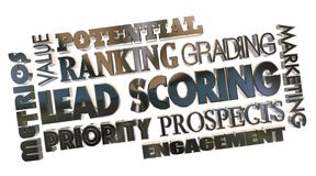 Lead Scoring Sales Prospects Best Top Priority Word Collage 3d I vector illustration